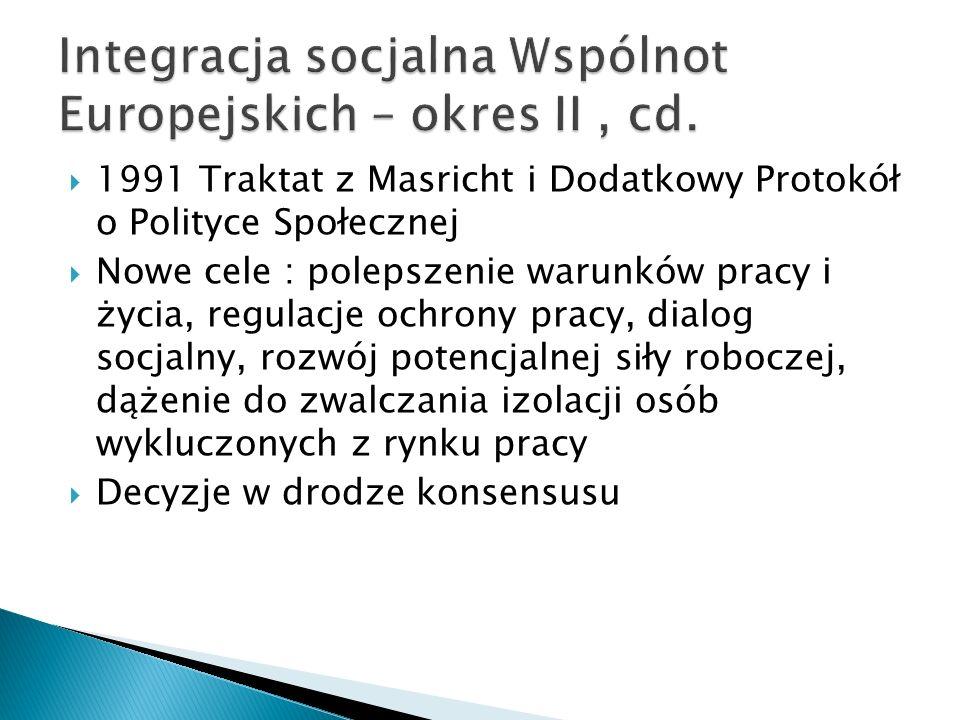 Integracja socjalna Wspólnot Europejskich – okres II , cd.