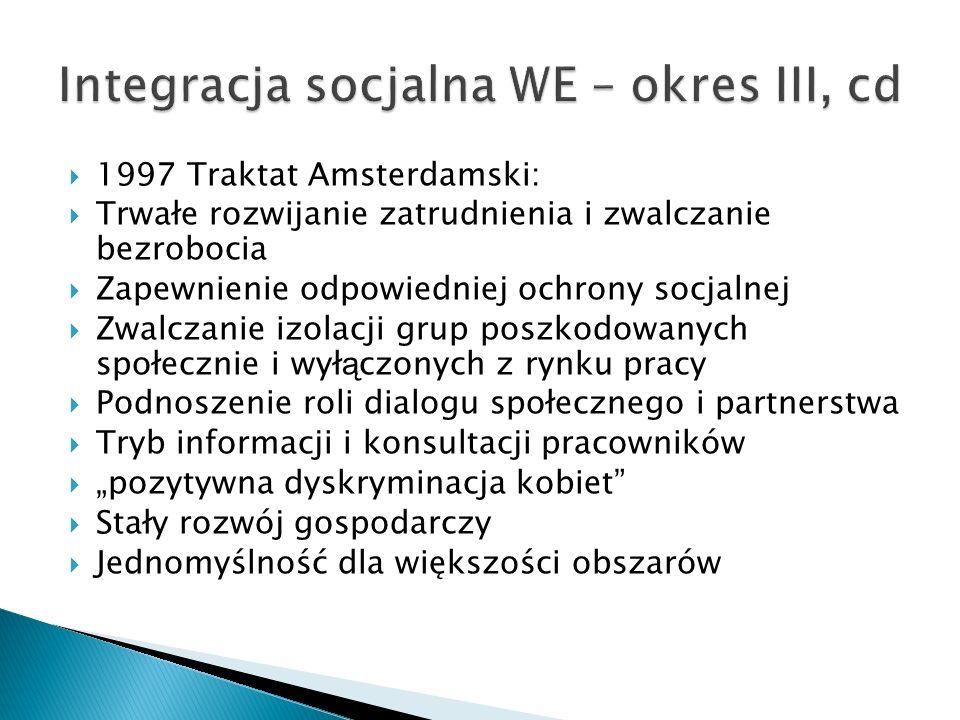 Integracja socjalna WE – okres III, cd