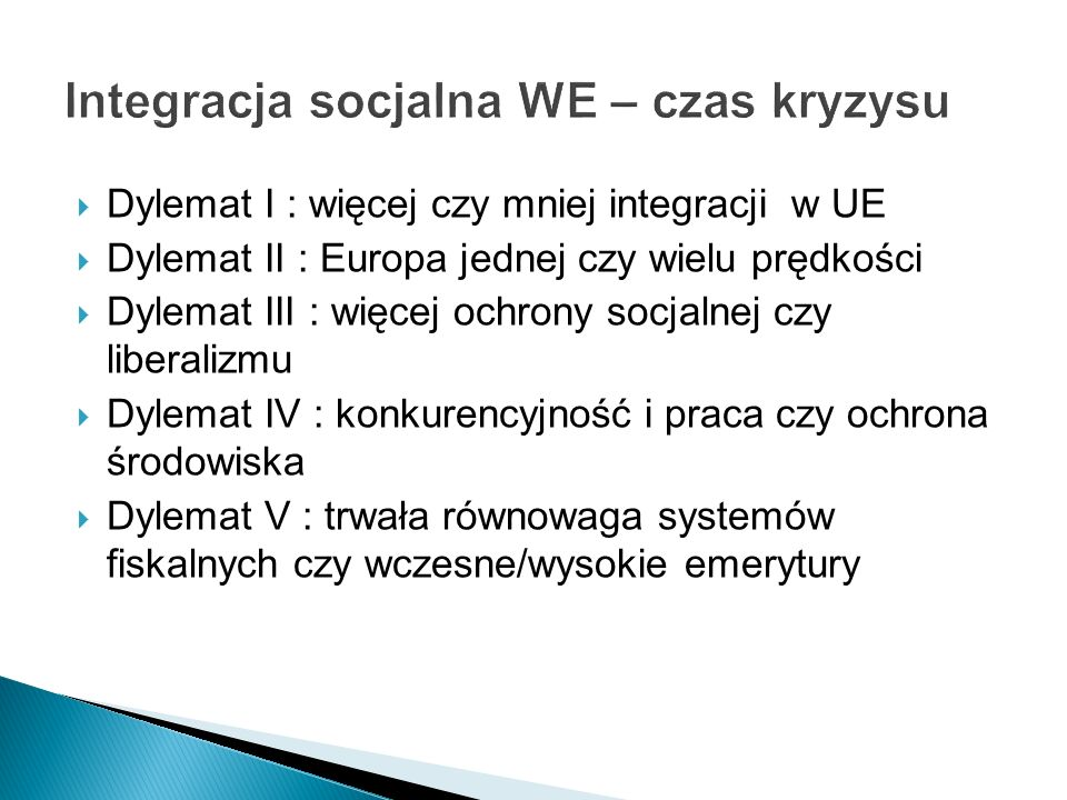 Integracja socjalna WE – czas kryzysu