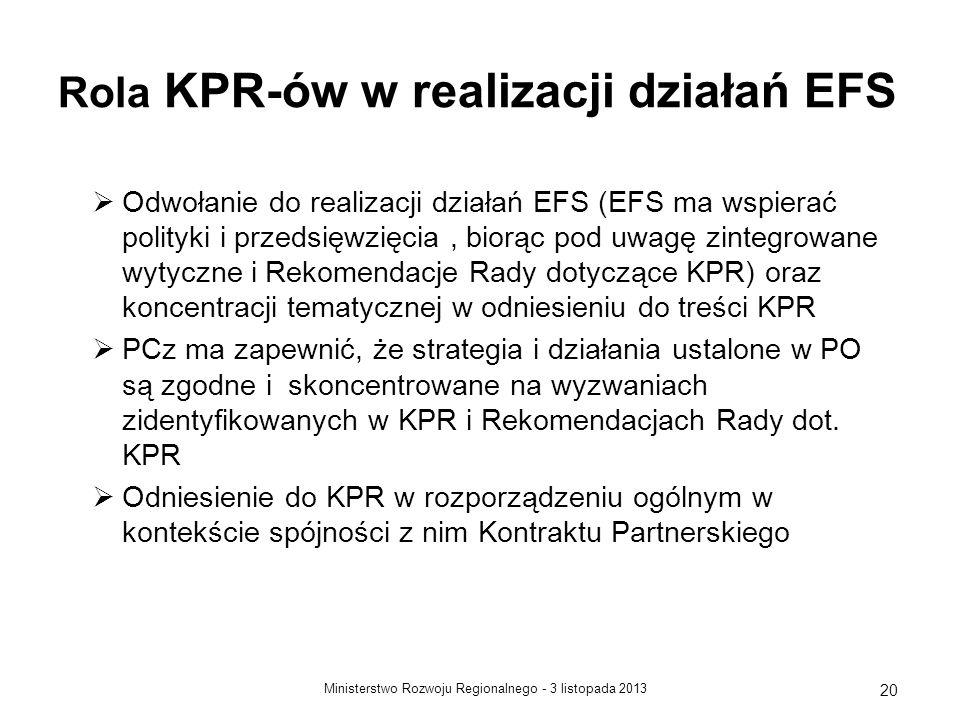 Rola KPR-ów w realizacji działań EFS