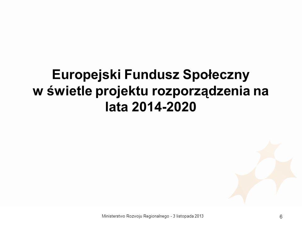 Europejski Fundusz Społeczny w świetle projektu rozporządzenia na lata 2014-2020