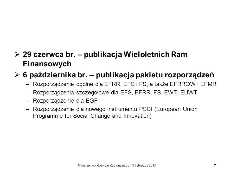 29 czerwca br. – publikacja Wieloletnich Ram Finansowych