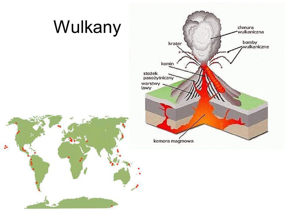Wulkany Gdy płyty tektoniczne rozsuwają się, gorące płynne skały znajdujące się pod nimi, wędrują ku powierzchni, powodując wybuch wulkanu.