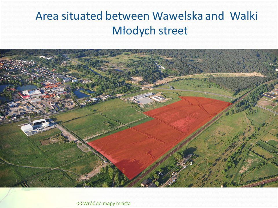 Area situated between Wawelska and Walki Młodych street