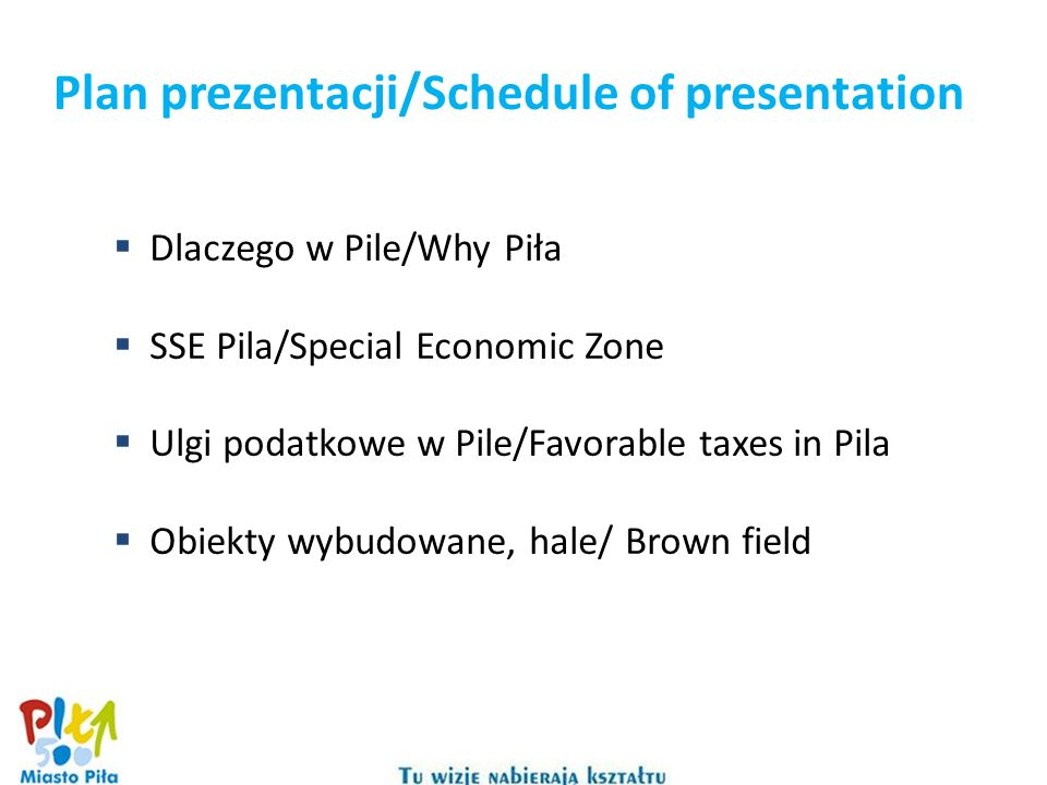Plan prezentacji/Schedule of presentation