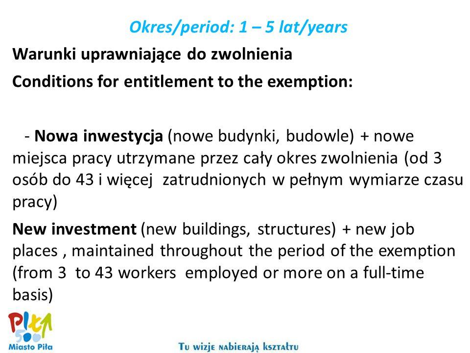 Okres/period: 1 – 5 lat/years