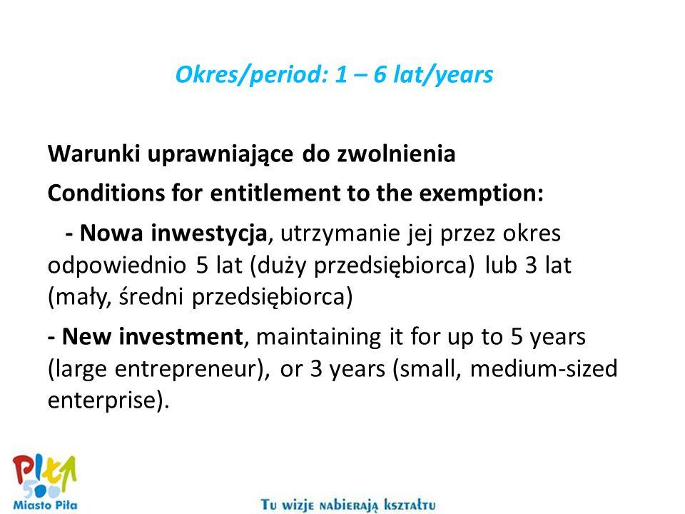 Okres/period: 1 – 6 lat/years