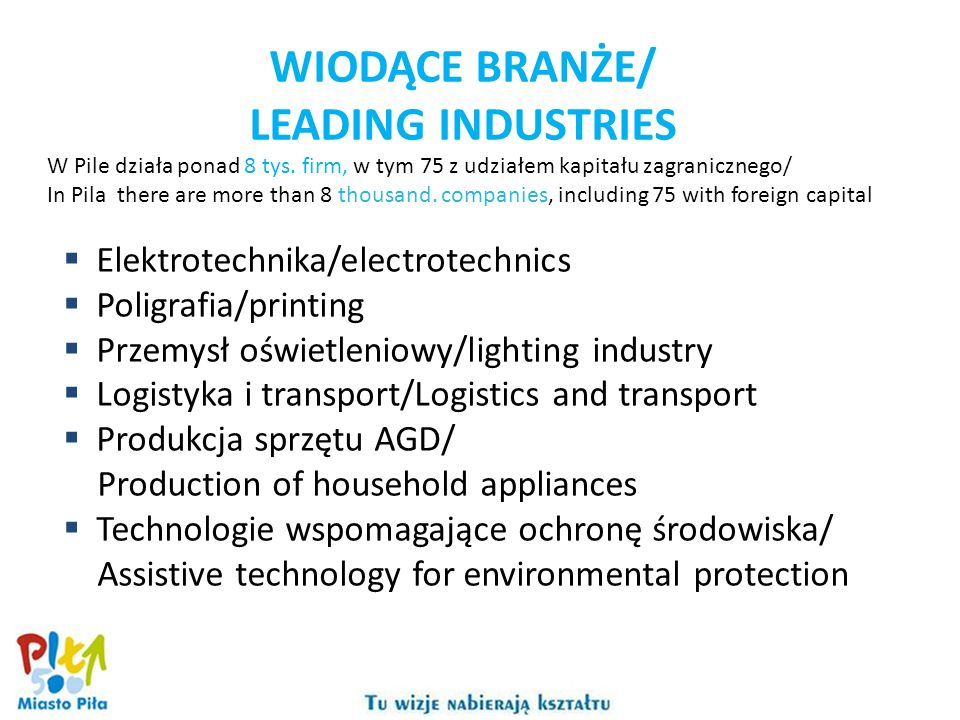WIODĄCE BRANŻE/ LEADING INDUSTRIES