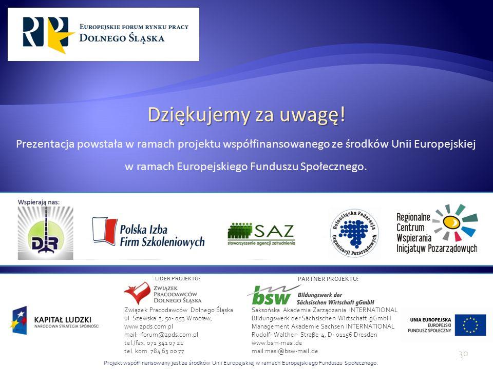Dziękujemy za uwagę! Prezentacja powstała w ramach projektu współfinansowanego ze środków Unii Europejskiej w ramach Europejskiego Funduszu Społecznego.