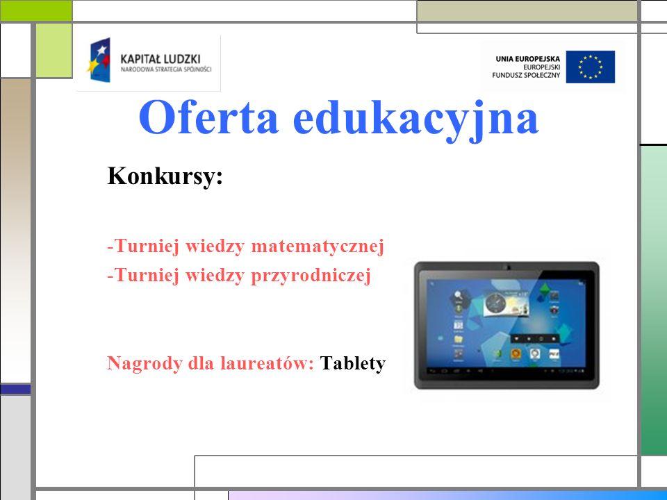 Oferta edukacyjna Konkursy: -Turniej wiedzy matematycznej