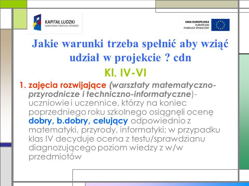 Jakie warunki trzeba spełnić aby wziąć udział w projekcie cdn