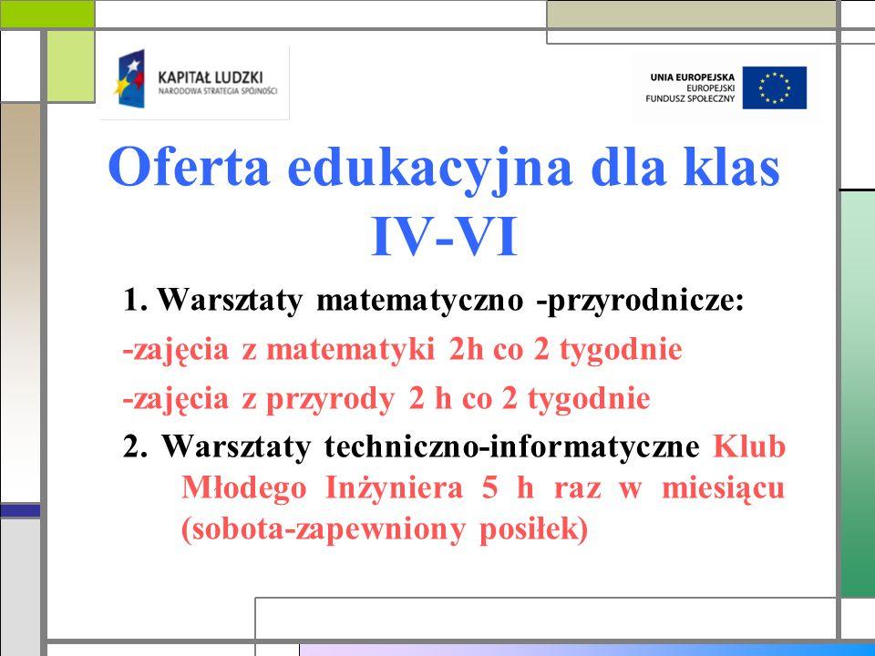 Oferta edukacyjna dla klas IV-VI