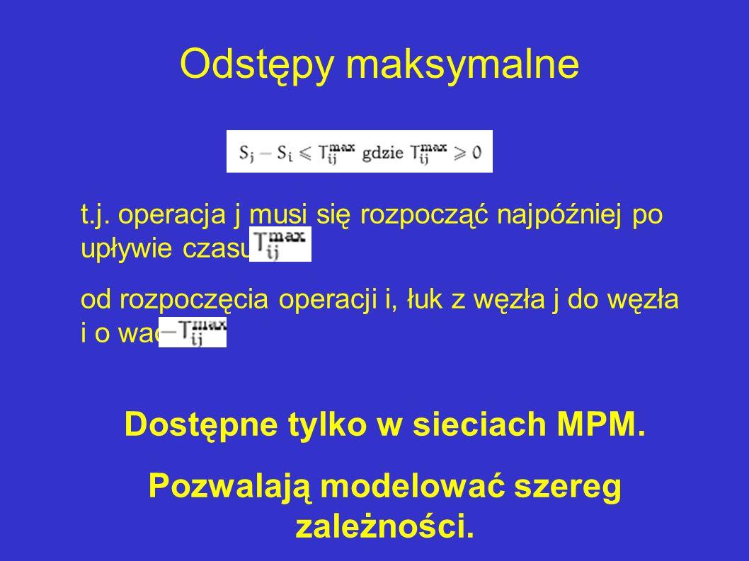 Dostępne tylko w sieciach MPM. Pozwalają modelować szereg zależności.