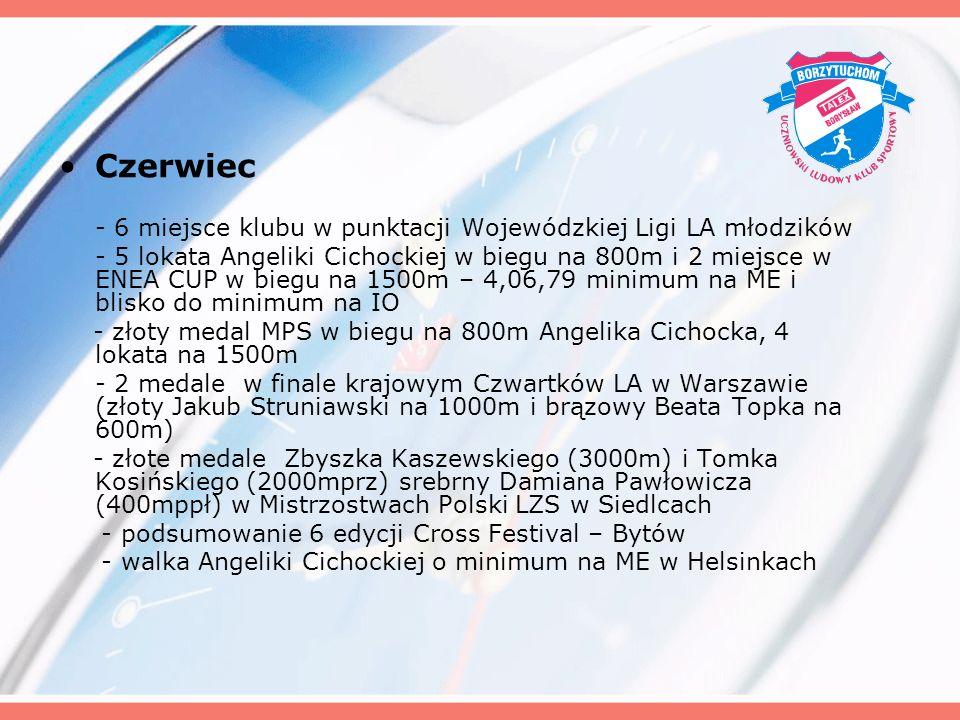 Czerwiec - 6 miejsce klubu w punktacji Wojewódzkiej Ligi LA młodzików