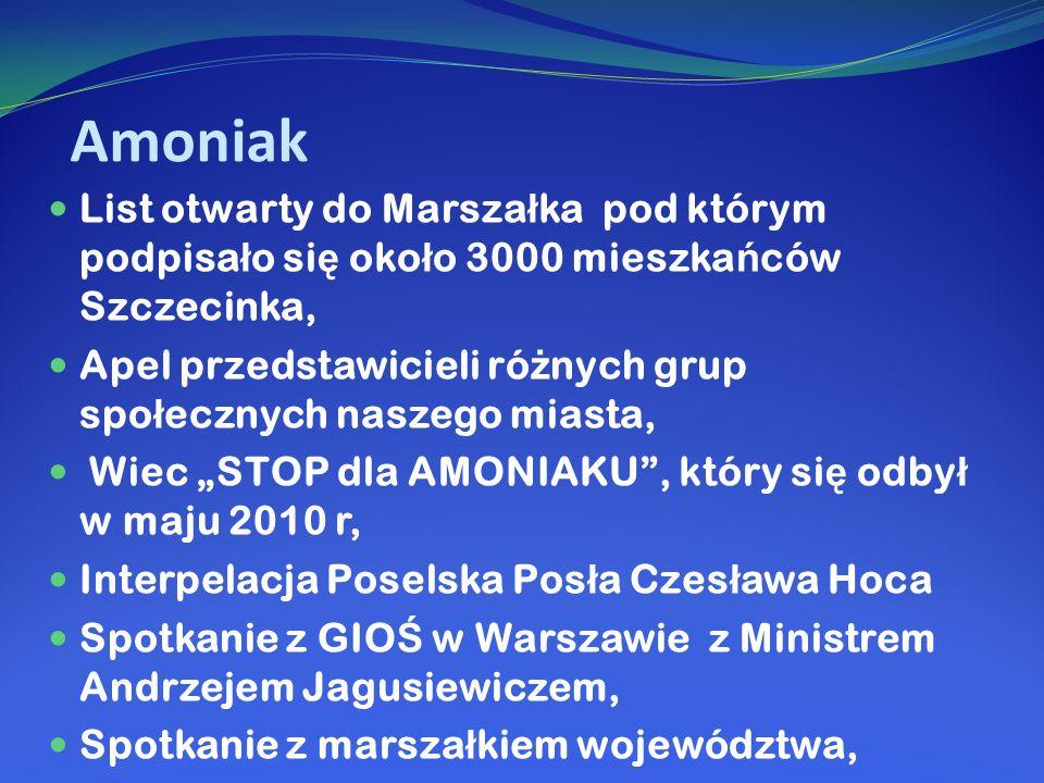 Amoniak List otwarty do Marszałka pod którym podpisało się około 3000 mieszkańców Szczecinka,