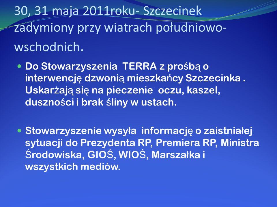 30, 31 maja 2011roku- Szczecinek zadymiony przy wiatrach południowo-wschodnich.