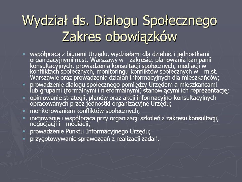 Wydział ds. Dialogu Społecznego Zakres obowiązków