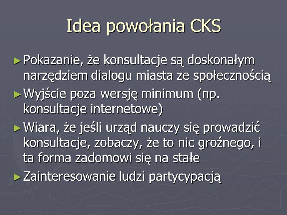 Idea powołania CKS Pokazanie, że konsultacje są doskonałym narzędziem dialogu miasta ze społecznością.