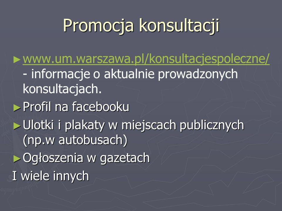 Promocja konsultacjiwww.um.warszawa.pl/konsultacjespoleczne/ - informacje o aktualnie prowadzonych konsultacjach.