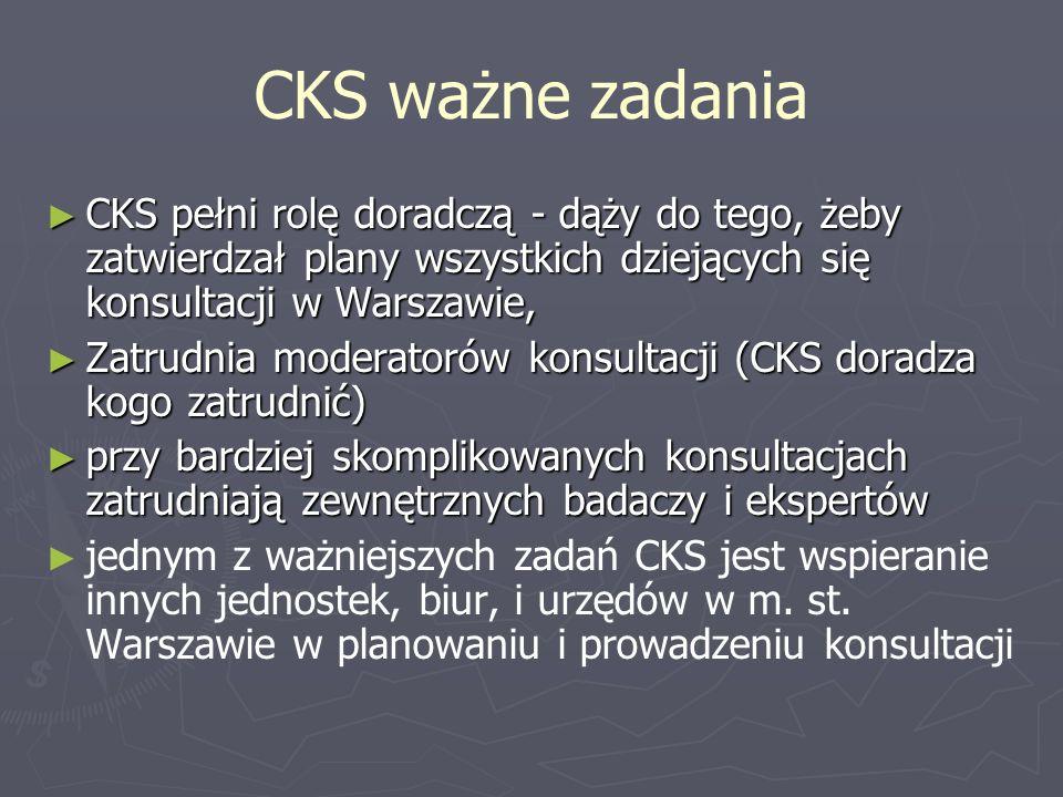 CKS ważne zadania CKS pełni rolę doradczą - dąży do tego, żeby zatwierdzał plany wszystkich dziejących się konsultacji w Warszawie,