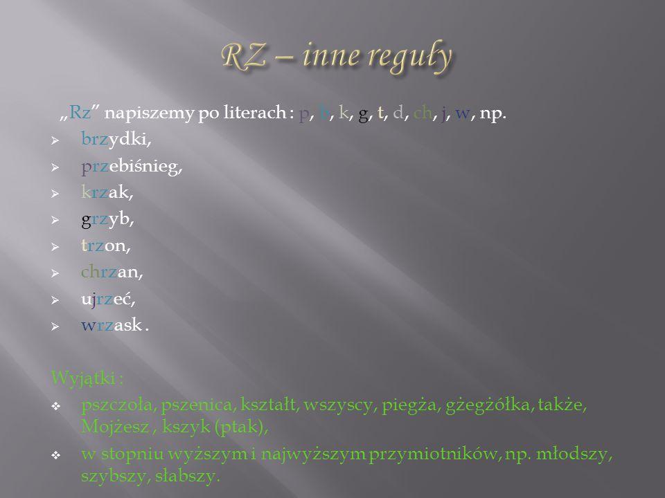 """RZ – inne reguły """"Rz napiszemy po literach : p, b, k, g, t, d, ch, j, w, np. brzydki, przebiśnieg,"""