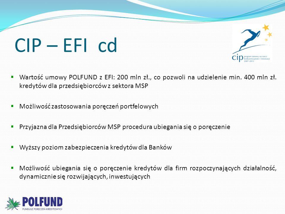 CIP – EFI cd Wartość umowy POLFUND z EFI: 200 mln zł., co pozwoli na udzielenie min. 400 mln zł. kredytów dla przedsiębiorców z sektora MSP.