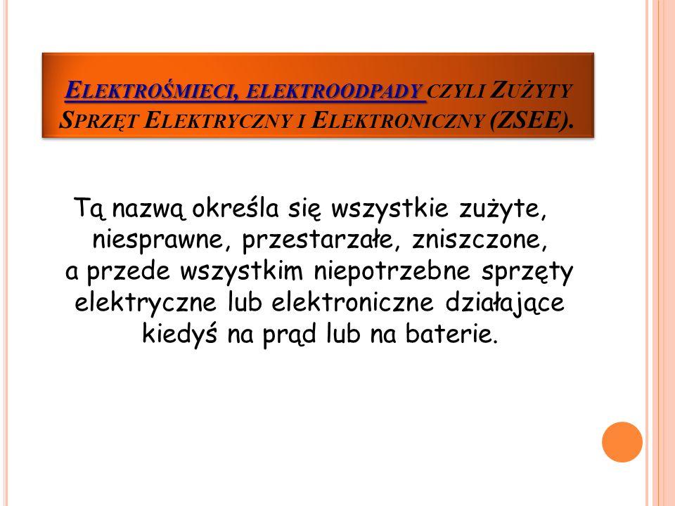 elektroodpady czyli Zużyty Sprzęt Elektryczny i Elektroniczny (ZSEE).