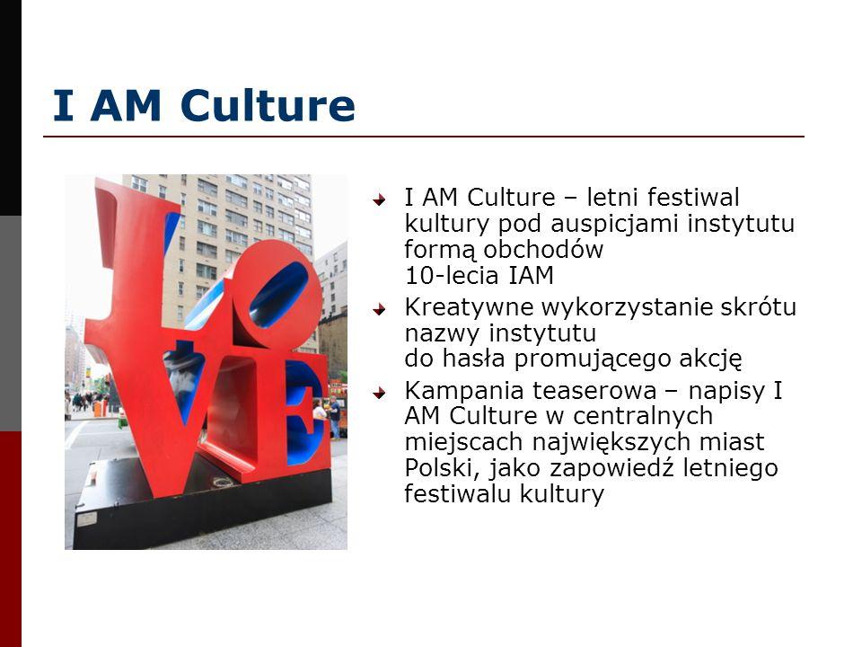 I AM Culture I AM Culture – letni festiwal kultury pod auspicjami instytutu formą obchodów 10-lecia IAM.