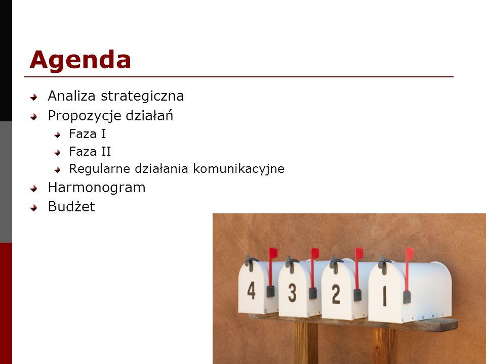 Agenda Analiza strategiczna Propozycje działań Harmonogram Budżet