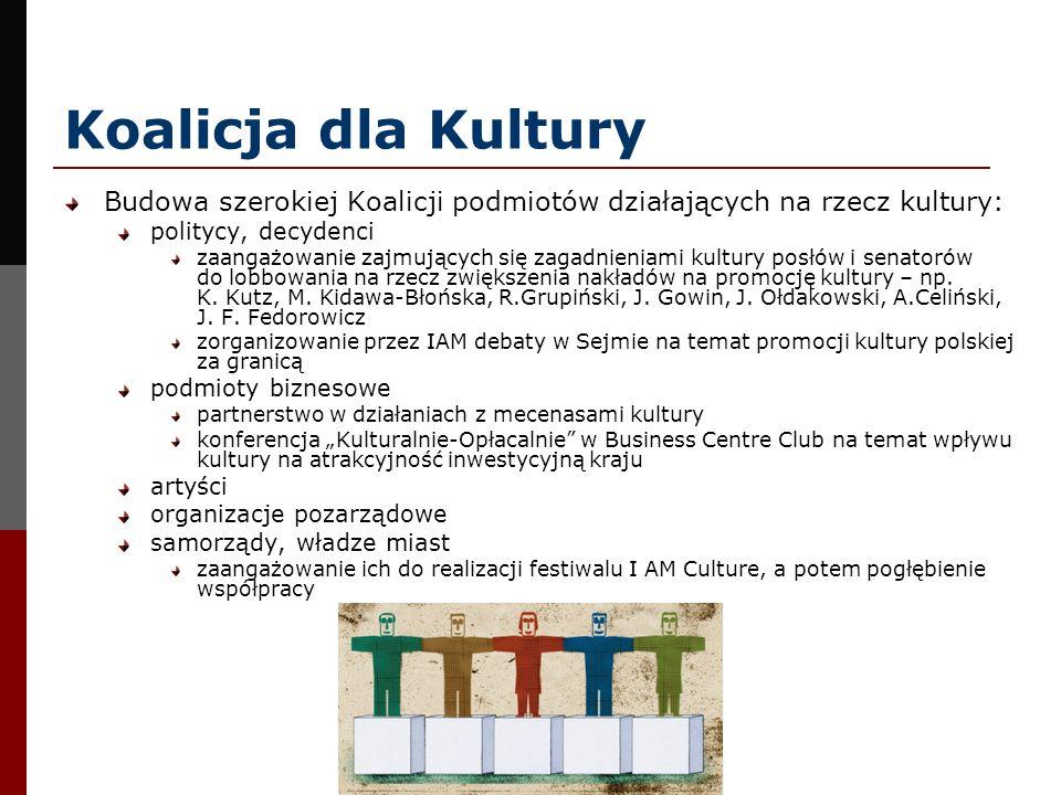 Koalicja dla KulturyBudowa szerokiej Koalicji podmiotów działających na rzecz kultury: politycy, decydenci.