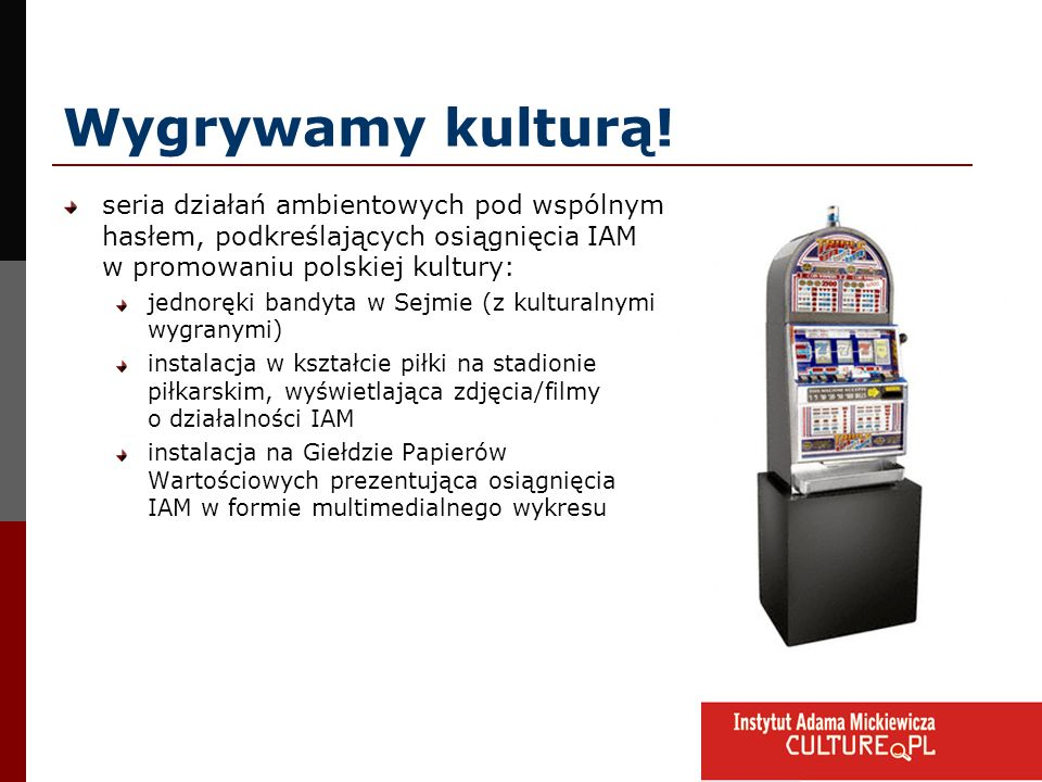 Wygrywamy kulturą!seria działań ambientowych pod wspólnym hasłem, podkreślających osiągnięcia IAM w promowaniu polskiej kultury: