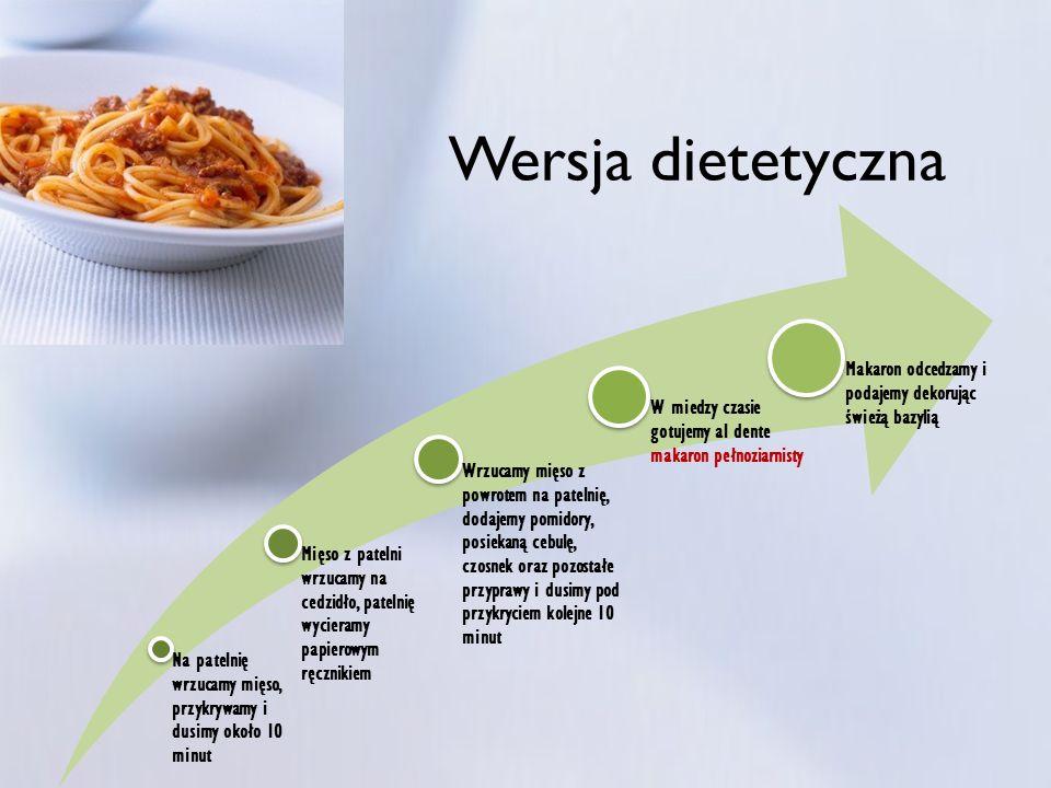 Wersja dietetyczna Na patelnię wrzucamy mięso, przykrywamy i dusimy około 10 minut.