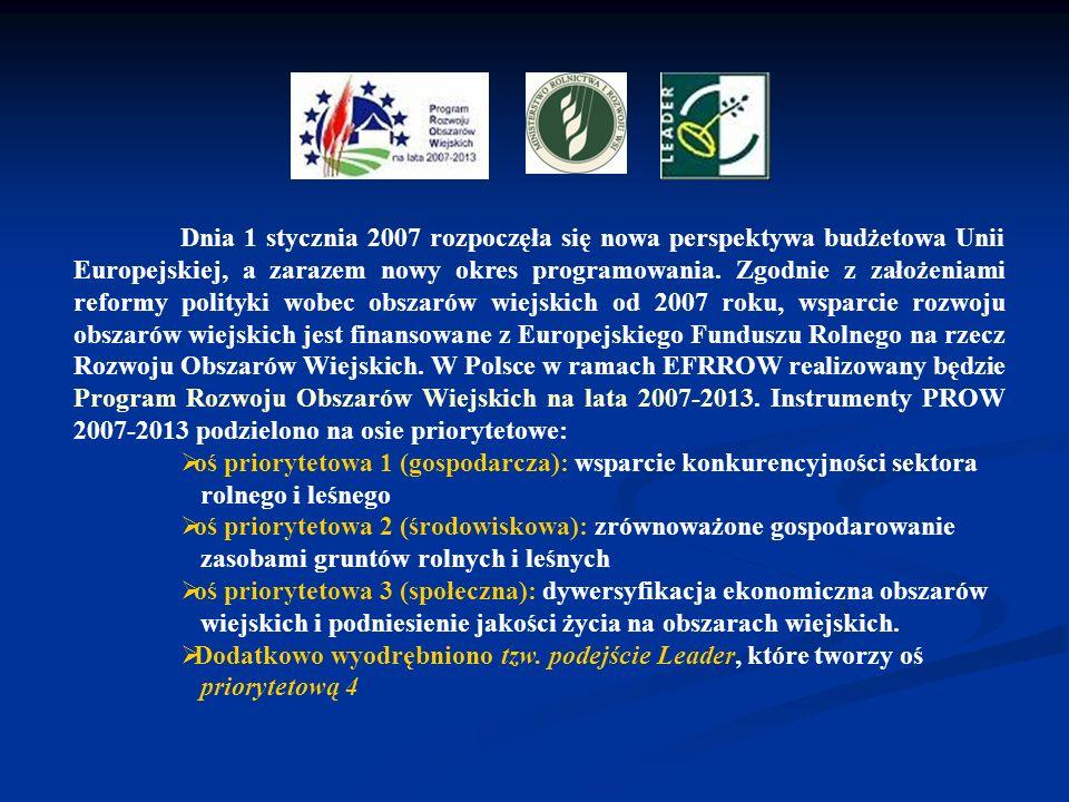 Dnia 1 stycznia 2007 rozpoczęła się nowa perspektywa budżetowa Unii Europejskiej, a zarazem nowy okres programowania. Zgodnie z założeniami reformy polityki wobec obszarów wiejskich od 2007 roku, wsparcie rozwoju obszarów wiejskich jest finansowane z Europejskiego Funduszu Rolnego na rzecz Rozwoju Obszarów Wiejskich. W Polsce w ramach EFRROW realizowany będzie Program Rozwoju Obszarów Wiejskich na lata 2007-2013. Instrumenty PROW 2007-2013 podzielono na osie priorytetowe: