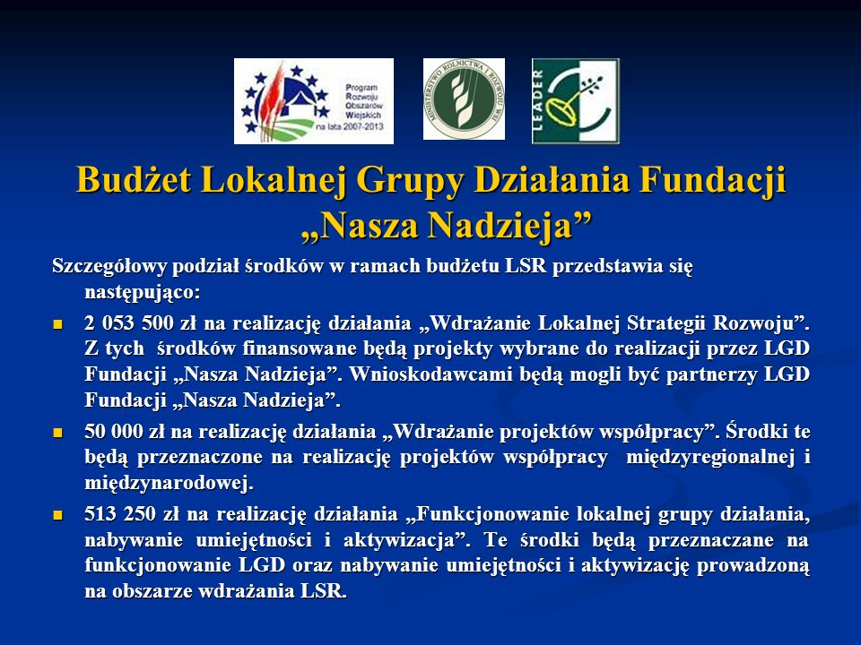 """Budżet Lokalnej Grupy Działania Fundacji """"Nasza Nadzieja"""