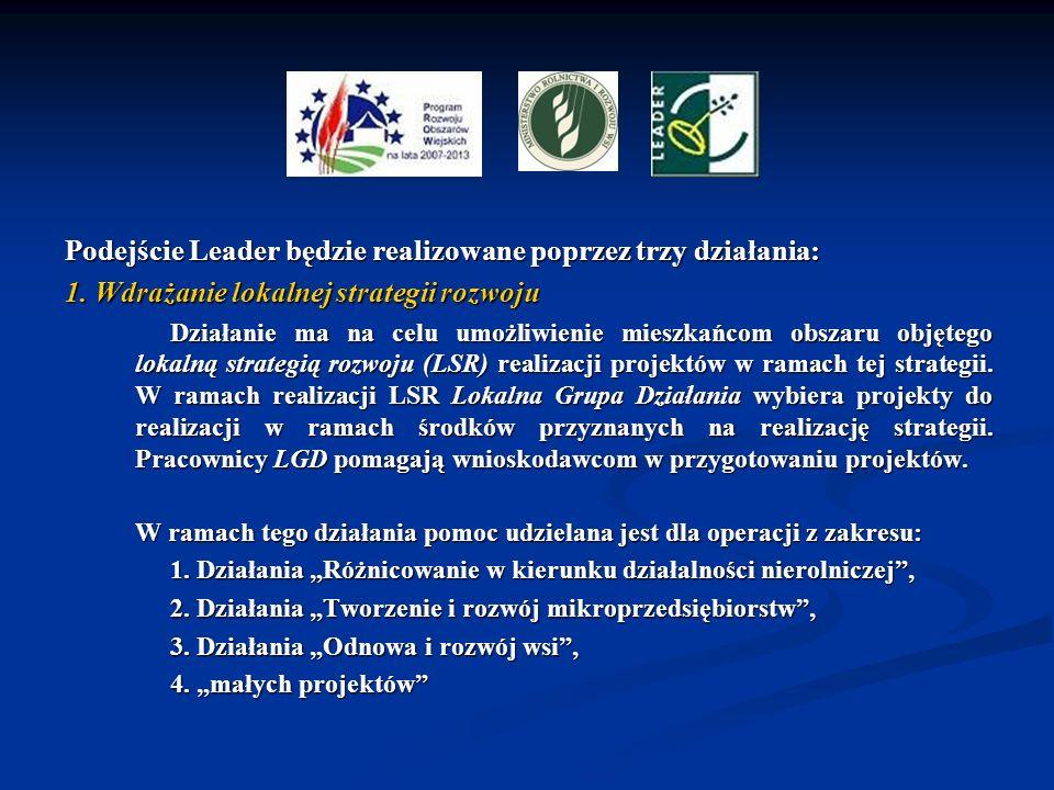 Podejście Leader będzie realizowane poprzez trzy działania: