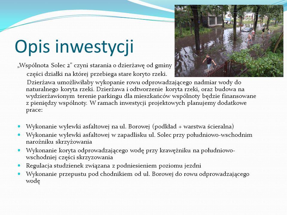 """Opis inwestycji """"Wspólnota Solec 2 czyni starania o dzierżawę od gminy. części działki na której przebiega stare koryto rzeki."""