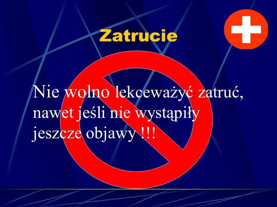 Zatrucie Nie wolno lekceważyć zatruć, nawet jeśli nie wystąpiły jeszcze objawy !!!