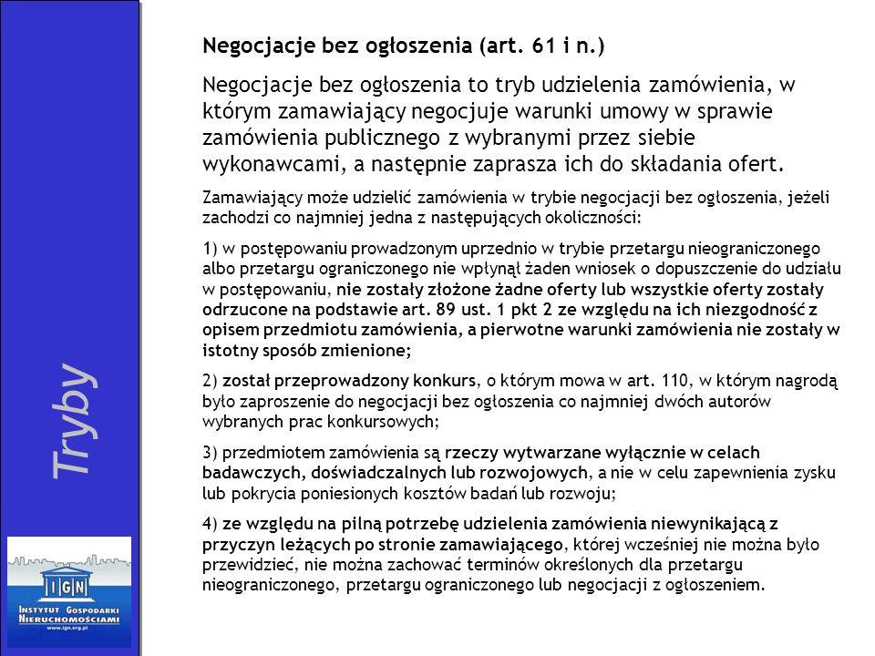 Tryby Negocjacje bez ogłoszenia (art. 61 i n.)