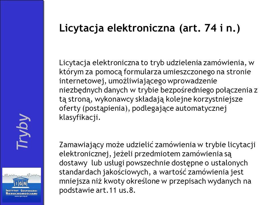 Tryby Licytacja elektroniczna (art. 74 i n.)
