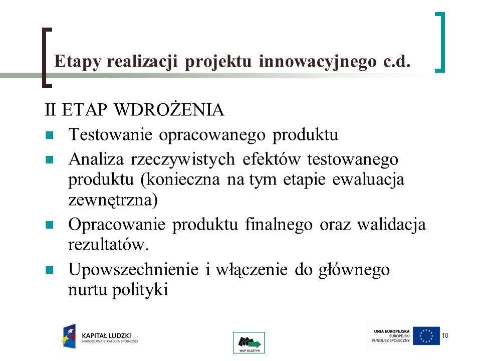 Etapy realizacji projektu innowacyjnego c.d.