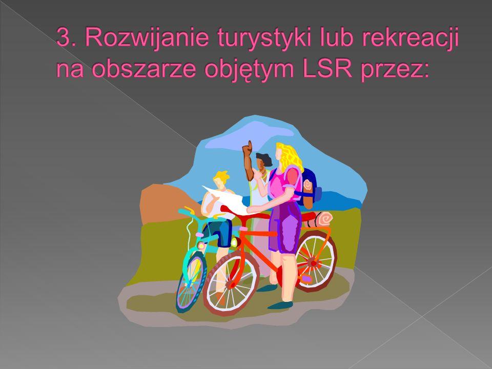 3. Rozwijanie turystyki lub rekreacji na obszarze objętym LSR przez: