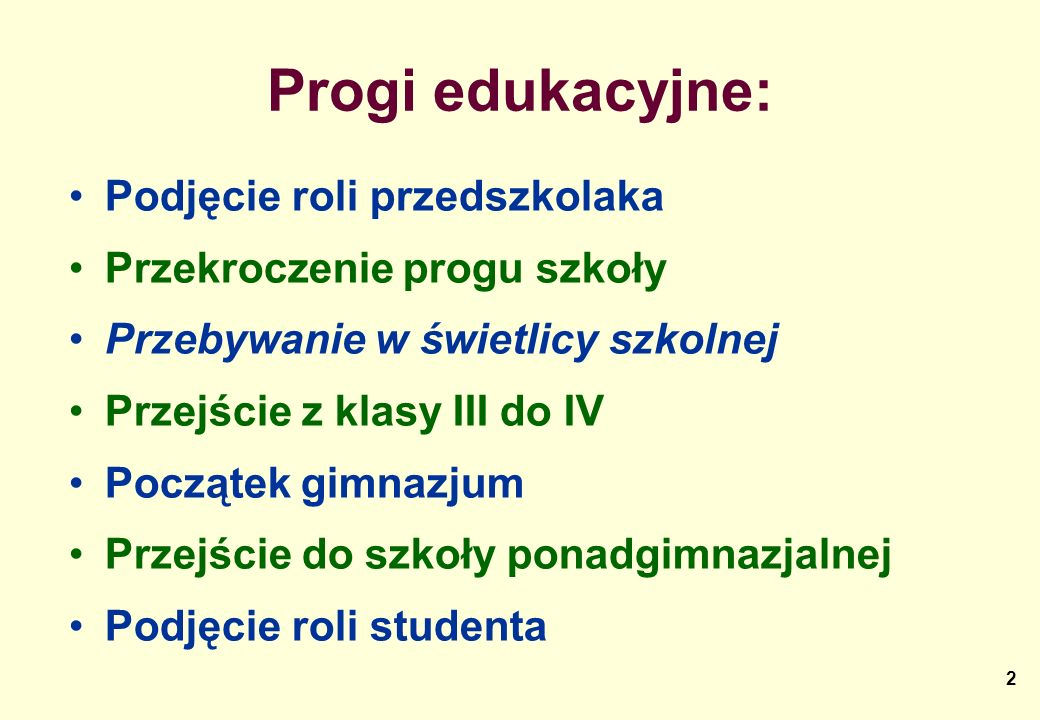 Progi edukacyjne: Podjęcie roli przedszkolaka