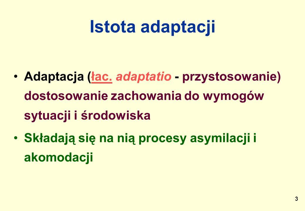 Istota adaptacji Adaptacja (łac. adaptatio - przystosowanie) dostosowanie zachowania do wymogów sytuacji i środowiska.