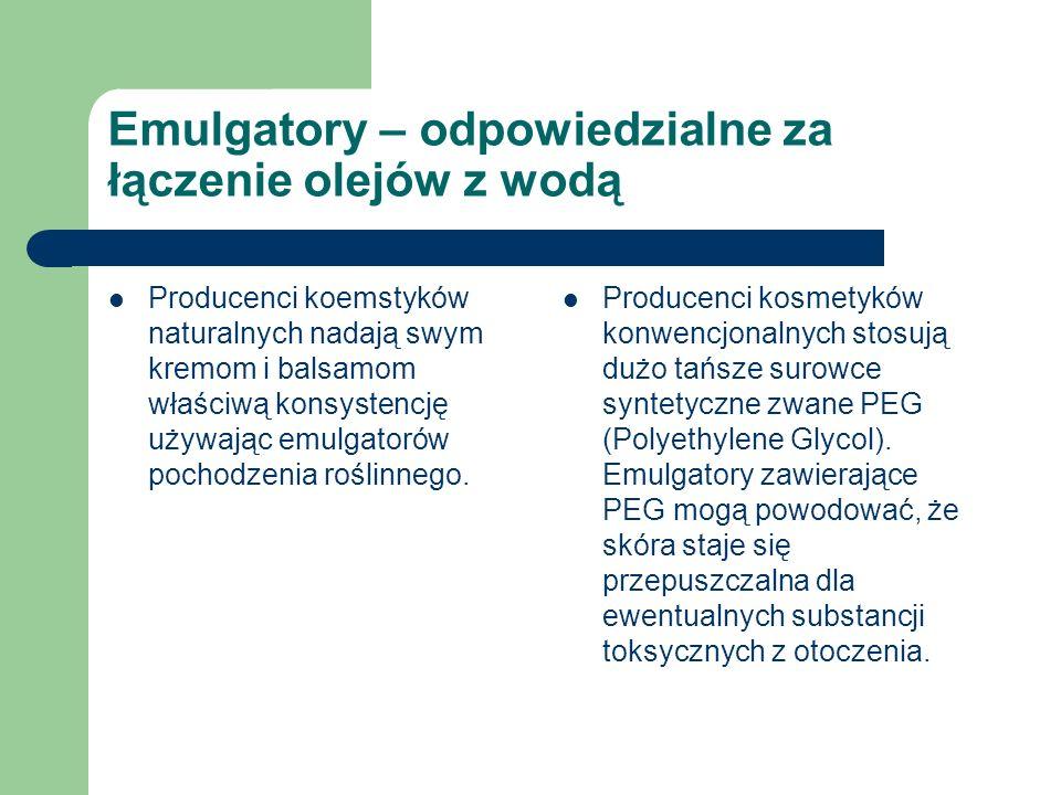 Emulgatory – odpowiedzialne za łączenie olejów z wodą