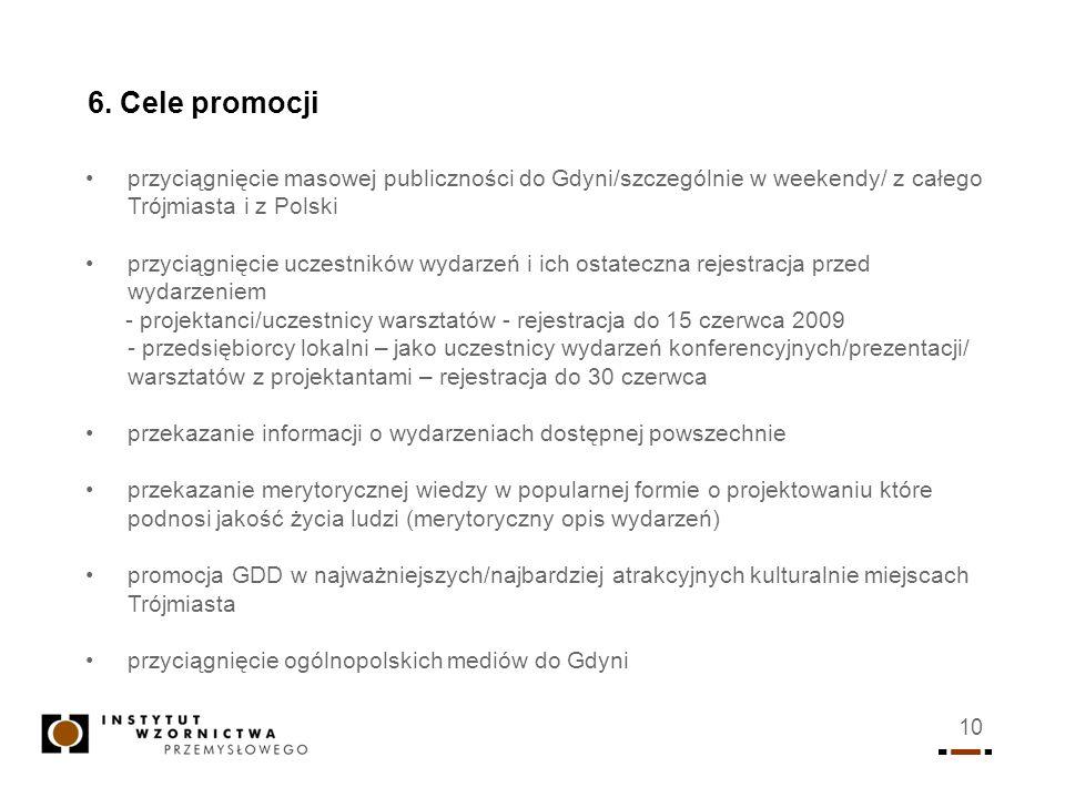 6. Cele promocjiprzyciągnięcie masowej publiczności do Gdyni/szczególnie w weekendy/ z całego Trójmiasta i z Polski.