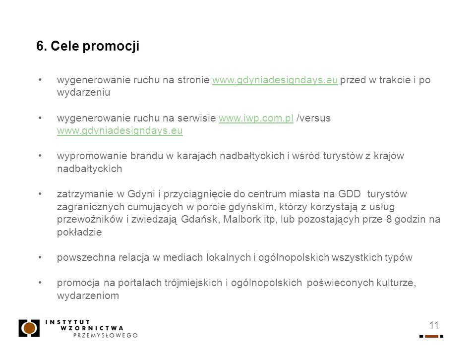 6. Cele promocji wygenerowanie ruchu na stronie www.gdyniadesigndays.eu przed w trakcie i po wydarzeniu.