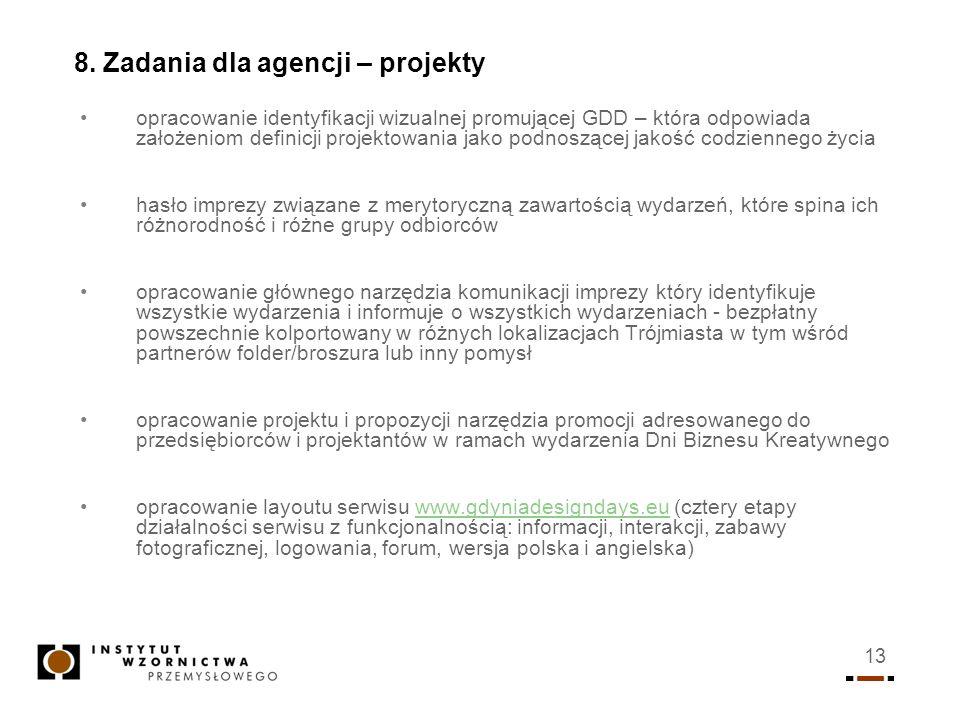 8. Zadania dla agencji – projekty