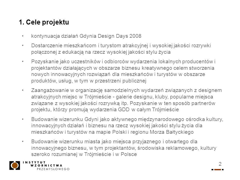 1. Cele projektu kontynuacja działań Gdynia Design Days 2008