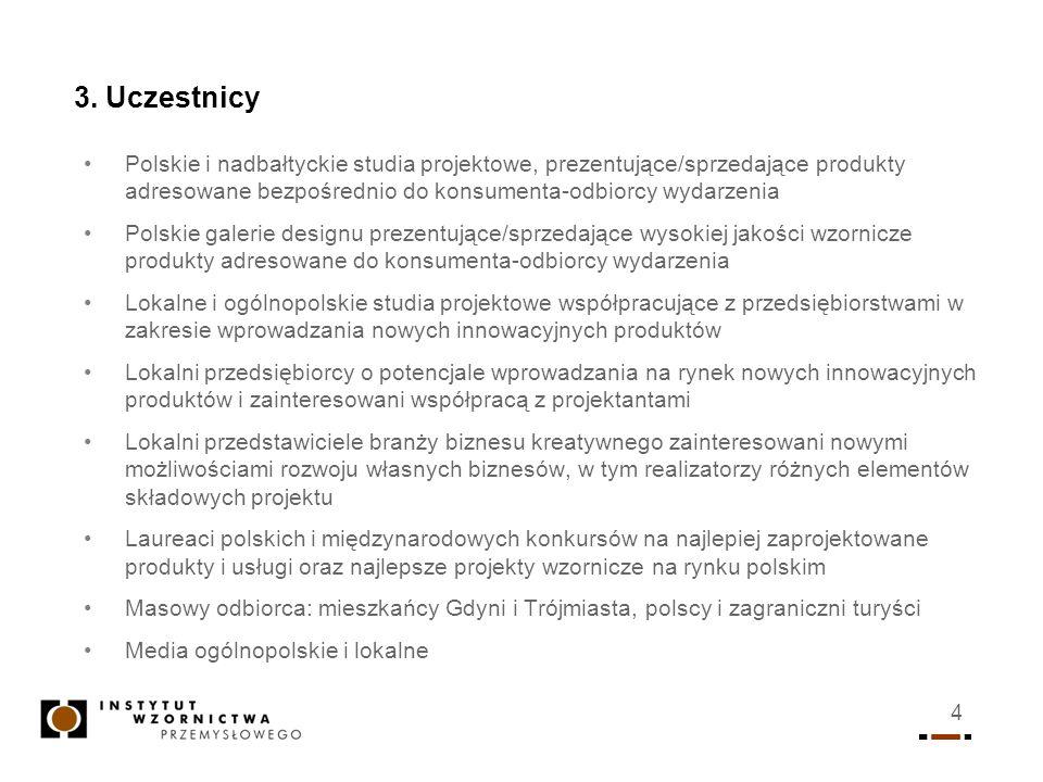 3. UczestnicyPolskie i nadbałtyckie studia projektowe, prezentujące/sprzedające produkty adresowane bezpośrednio do konsumenta-odbiorcy wydarzenia.