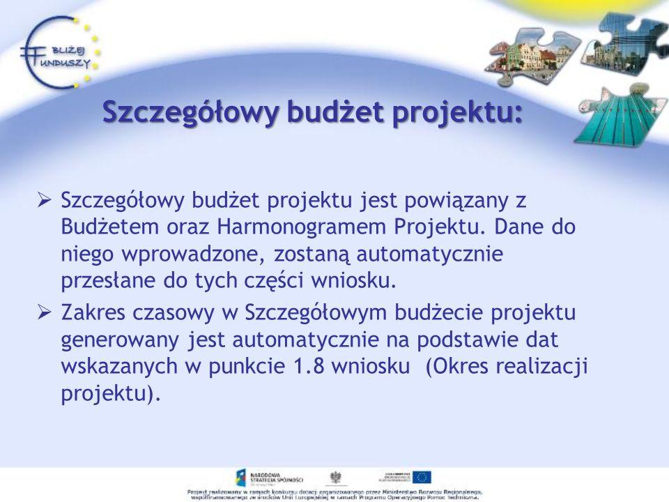 Szczegółowy budżet projektu:
